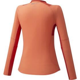 Mizuno Dry Aeroflow Camiseta Manga Larga 1/2 Cremallera Mujer, naranja